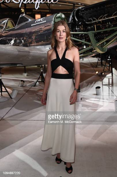Rosamund Pike visits the IWC booth during the Maison's launch of its new Pilot's Watches at the Salon International de la Haute Horlogerie on January...