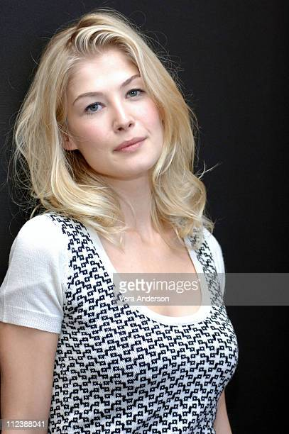 Rosamund Pyke during Pride and Prejudice Press Conference with Donald Sutherland Rosamund Pyke Matthew McFadyen Brenda Blethyn and Joe Wright at...