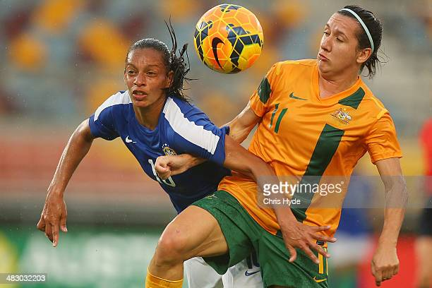 Rosana Augusto of Brazil and Lisa De Vanna of Australia compete for the ball during the Women's International Friendly match between the Australian...