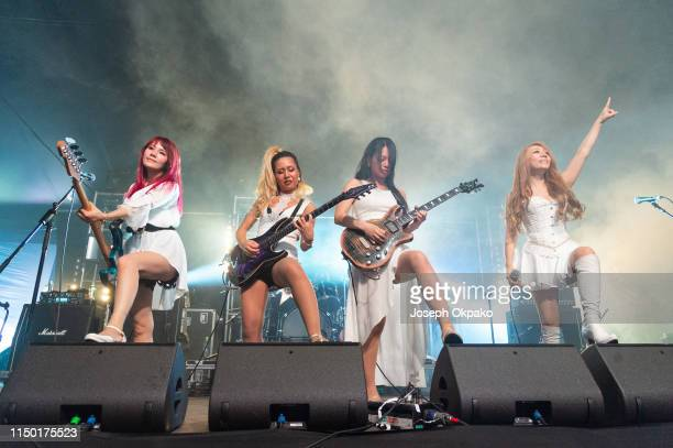 Rosana Midori Miyako and Asami of Lovebites perform on stage during day 2 of Download festival 2019 at Donington Park on June 14 2019 in Castle...