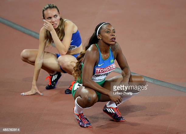 Rosangela Santos of Brazil reacts after competing in the Women's 200 metres heats during day five of the 15th IAAF World Athletics Championships...