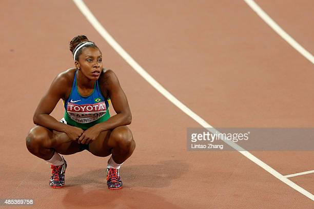 Rosangela Santos of Brazil reacts after competing in the Women's 200 metres semifinal during day six of the 15th IAAF World Athletics Championships...