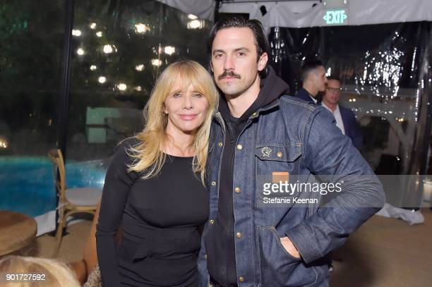 Rosanna Arquette and Milo Ventimiglia attend Esquire and the Medavoys host a party to celebrate the Golden Globes presented by Maserati at Private...