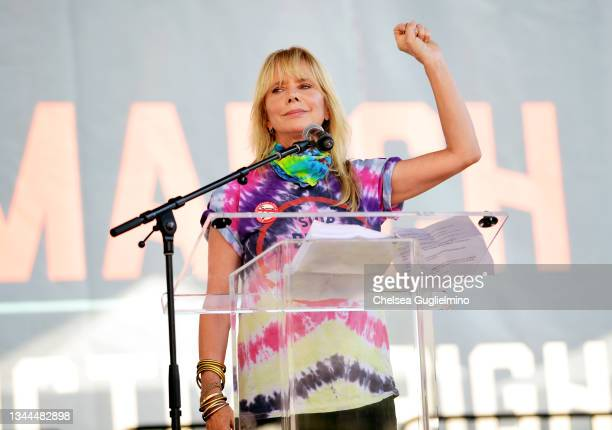 Rosanna Arquette speaks during Women's March Action: March 4 Reproductive Rights at Los Angeles City Hall on October 02, 2021 in Los Angeles,...