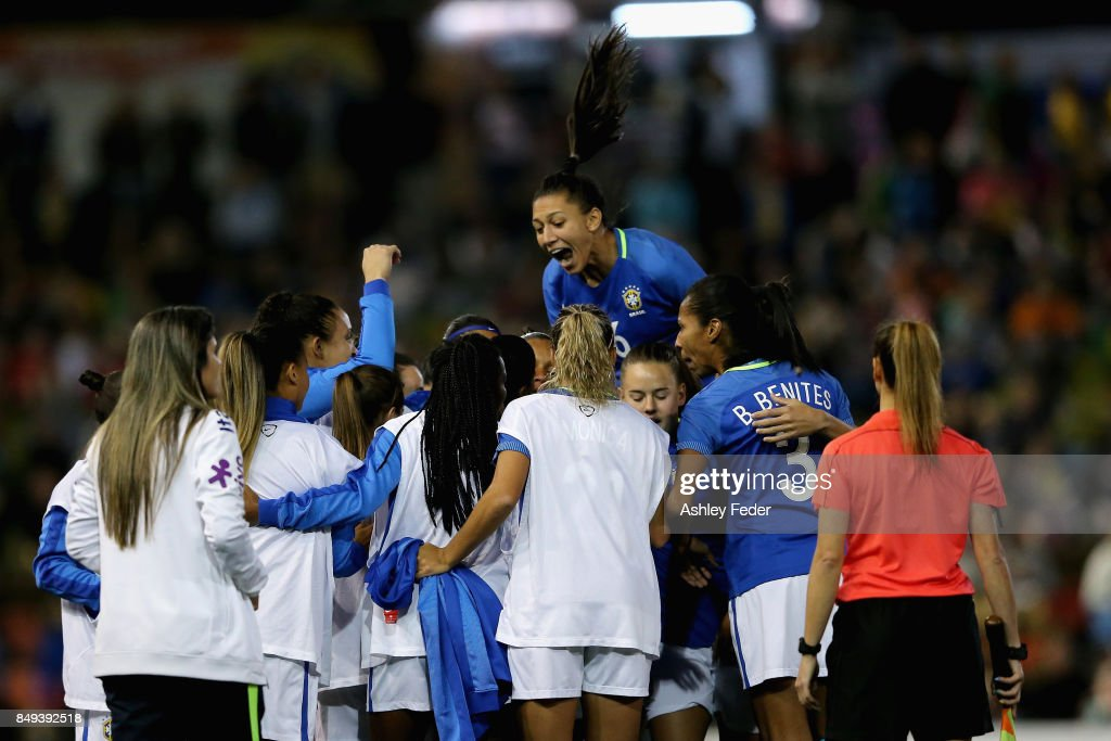 Rosanna Augusto of Brazil celebrates a goal with her team during the Women's International match between the Australian Matildas and Brazil at McDonald Jones Stadium on September 19, 2017 in Newcastle, Australia.