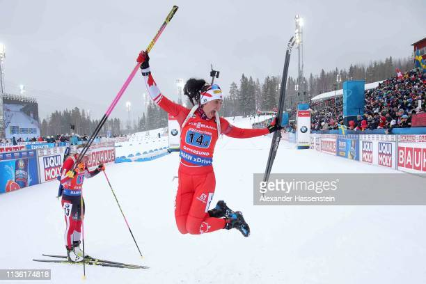 Rosanna Crawford of Canada reacts at the finish area after the IBU Biathlon World Championships Women's Relay at Swedish National Biathlon Arena on...