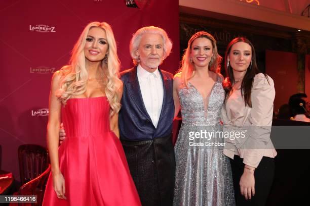Rosanna Davison, daughter of Chris de Burg, Hermann Buehlbecker, CEO of Lambertz, Kiera Chaplin and her sister India Chaplin Van Diessen during the...