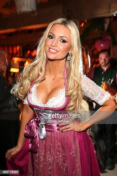 Rosanna Davison wearing a dirndl by Alpenmaedel during the 'Haarwerk Blond' Wiesn during the Oktoberfest 2015 at Kaeferschaenke beer tent at...