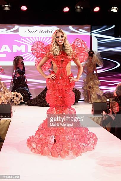 Rosanna Davison wearing creations out of Cake packagins by artist Larisa Katz Art couture walks the catwalk during the Lambertz Monday Night at Alter...