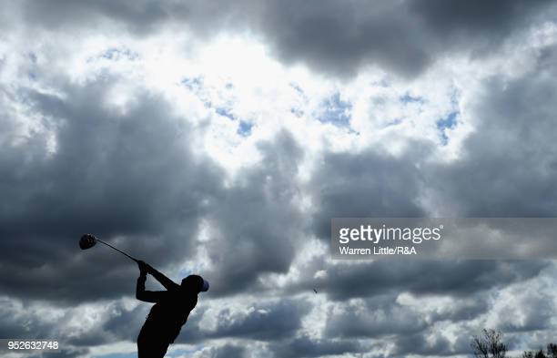Rosanna Halls tees off on the first hole during the final round of the Girls' U16 Open Championship at Fulford Golf Club on April 29 2018 in York...