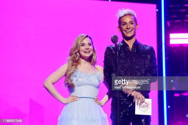 Rosanna Pansino and Frankie Grande speak onstage during the 2nd Annual American Influencer Awards at Dolby Theatre on November 18 2019 in Hollywood...