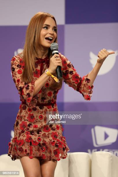 Rosanna Pansino speaks onstage during the 'Escape the Night 3 Welcome to Everlock' panel during the 9'th Annual VidCon at Anaheim Convention Center...