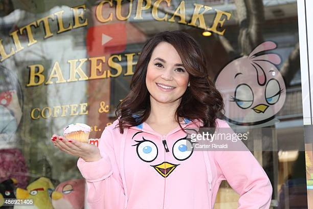 Rosanna Pansino Star of the Baking Channel on Youtube attends the Angry Birds Stella launch at Little Cupcake Bakeshop on April 26 2014 in New York...