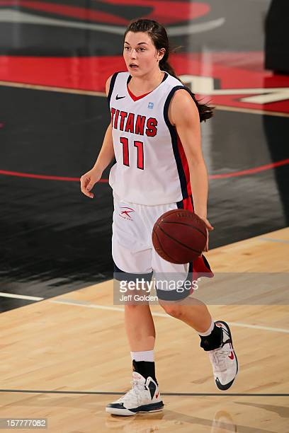 Rosanna Reynolds of the Detroit Titans dribbles against the South Alabama Jaguars at The Matadome on November 24 2012 in Northridge California South...