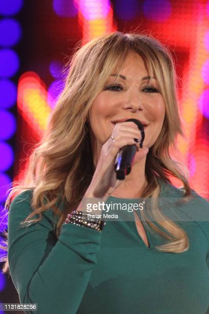 Rosanna Rocci performs at the Meine Schlagerwelt Die Party mit Ross Antony MDR TV show recording at Eventpalast on February 20 2019 in Leipzig Germany