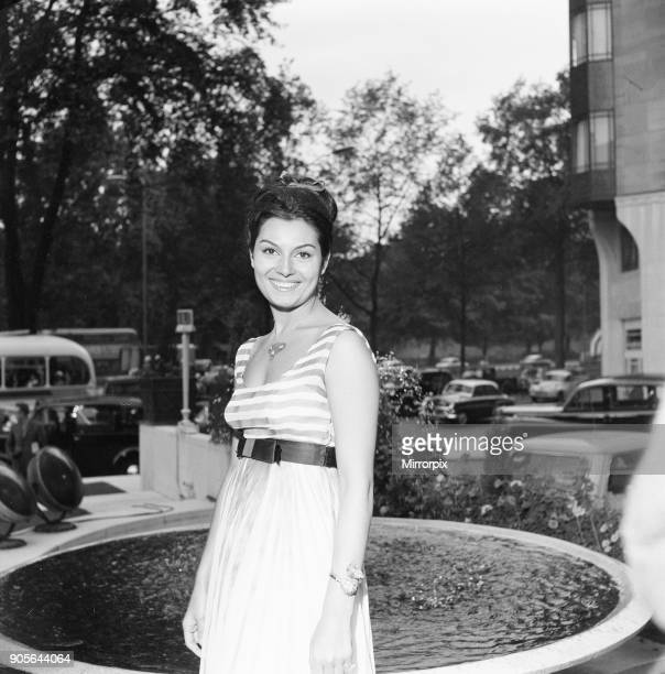 Rosanna Schiaffino Italian actress in the UK to star in new film The Victors pictured outside The Dorchester Hotel London Tuesday 14th August 1962