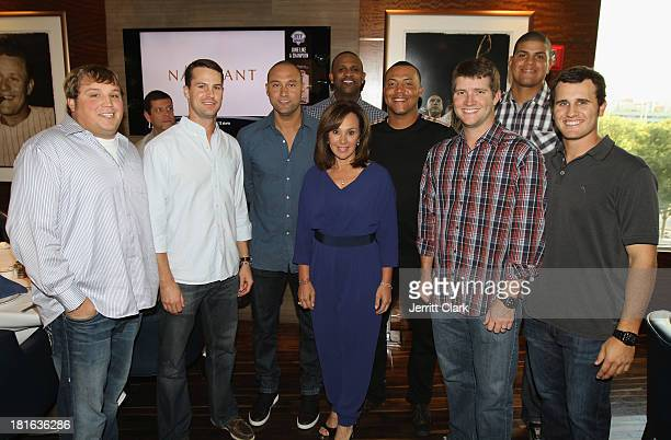 Rosanna Scotto poses with NY Yankees Mike Zagurski, Matt Daley, Derek Jeter, CC Sabathia, Amber Sabathia, Cesar Cabral, Adam Warren, Dellin Betances...