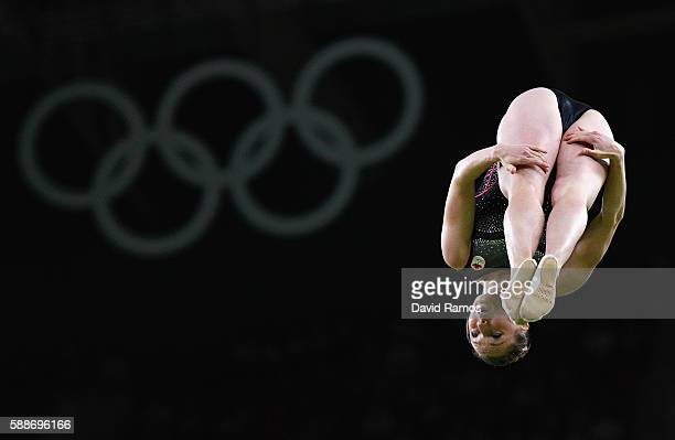 Rosannagh Maclennan of Canada competes during the Trampoline Gymnastics Women's Qualification on Day 7 of the Rio 2016 Olympic Games at the Rio...