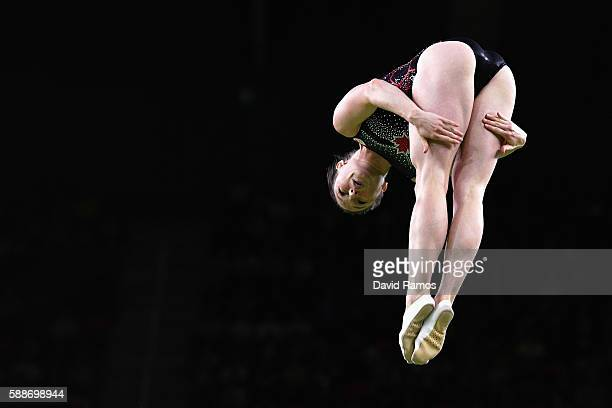 Rosannagh Maclennan of Canada competes during the Trampoline Gymnastics Women's Final on Day 7 of the Rio 2016 Olympic Games at the Rio Olympic Arena...