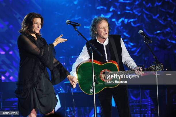 Rosanne Cash and Donovan perform onstage at Songwriters Hall Of Fame 45th Annual Induction And Awards at Marriott Marquis Theater on June 12 2014 in...
