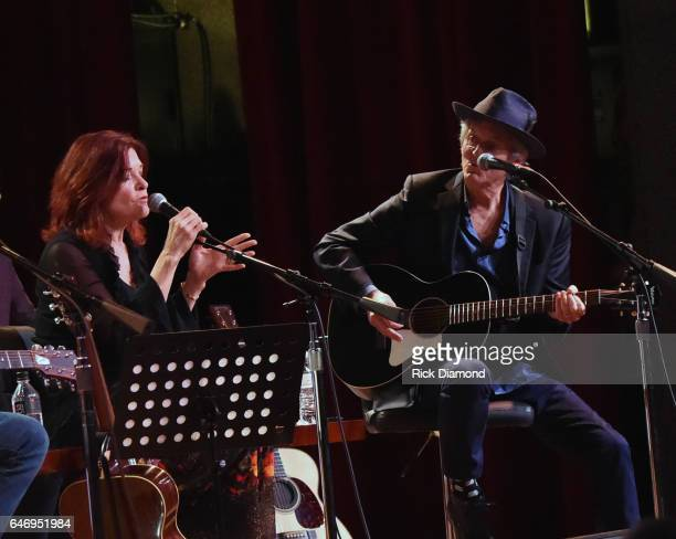 Rosanne Cash is joined by Rodney Crowell and performs during The First And The Worst benefiting Music Health Alliance at City Winery Nashville on...