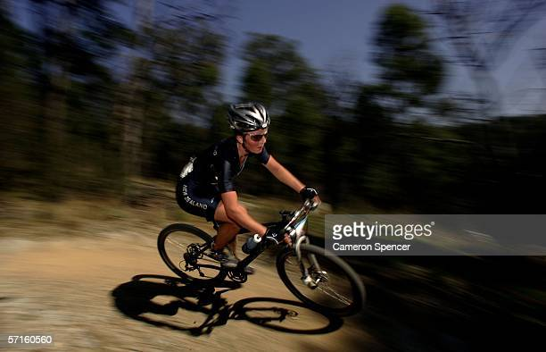 Rosara Joseph of New Zealand competes in the Women's Individual Cross Country Mountain Biking Event at the State Mountain Bike Course in Lysterfield...