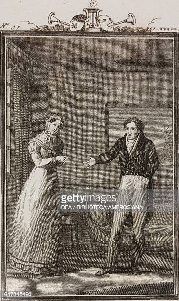 Rosaria and Geronio speaking in the living room engraving by Antonio Viviani from a drawing by G Steneri from The Father of the Family Act I Scene 18...