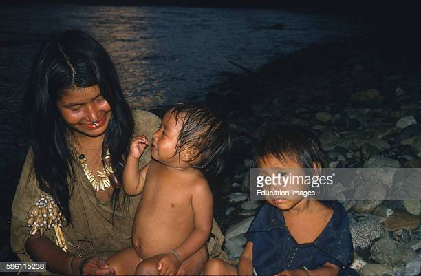 Rosaria and her children with daughter near death We save her with antiparasitic meds and dehydration therapy during storm Lower Andean Amazon Basin...
