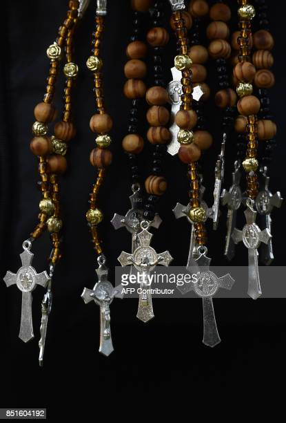 Rosaries are sold by a vendor in Mexico City on September 22 2017 three days after a strong quake hit central Mexico A powerful 71 earthquake shook...
