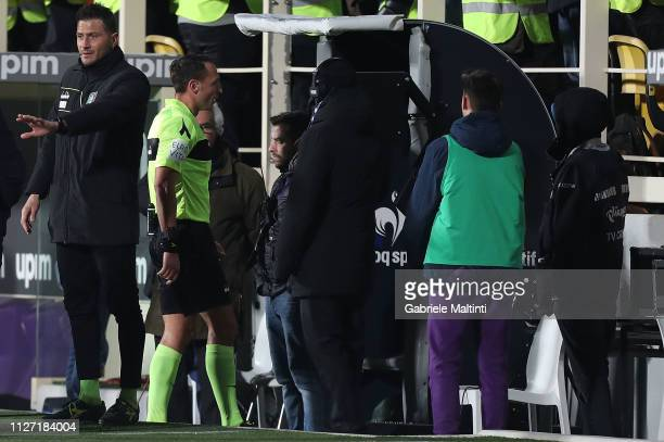 Rosario Abisso referee consults the VAR during the Serie A match between ACF Fiorentina and FC Internazionale at Stadio Artemio Franchi on February...