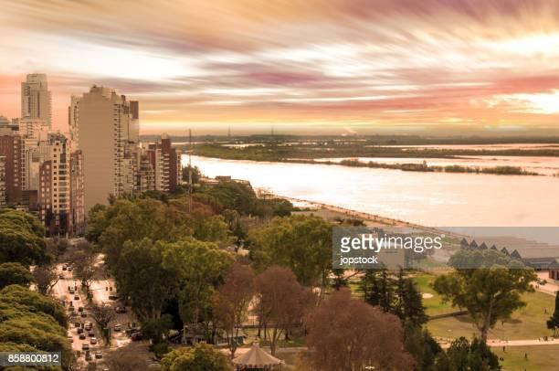 Rosario City and Parana River in Argentina