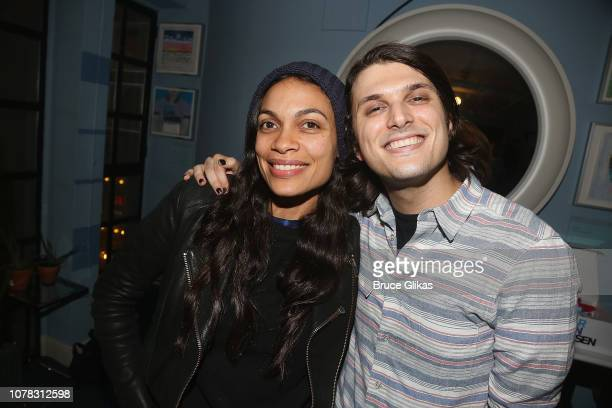 Rosario Dawson and Alex Boniellopose backstage at the hit Tony Winning Musical 'Dear Evan Hansen' on Broadway at The Music Box Theatre on January 5...