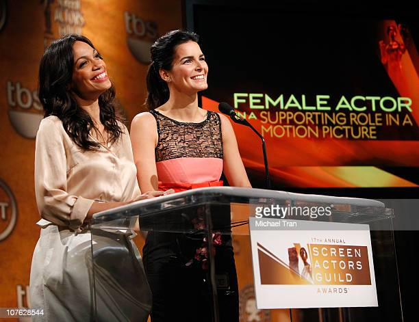 Rosario Dawson and Angie Harmon speak onstage at the 17th Annual Screen Actors Guild Awards nominations announcement held at Pacific Design Center on...