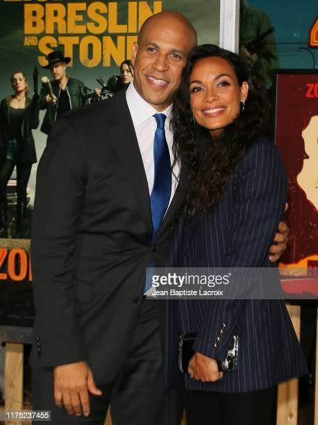 """Rosario Dawson and Cory Booker attend the """"Zombieland Double Tap"""" Sony Pictures Premiere at Regency Village Theatre on October 10, 2019 in Westwood,..."""