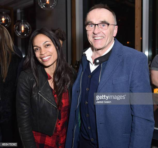 Rosario Dawson and Danny Boyle attend TriStar Pictures The Cinema Society with 19 Crimes Host the After Party for 'T2 Trainspotting' at Mr Purple at...