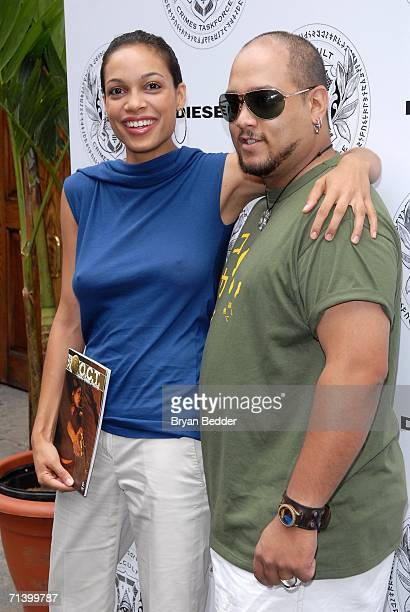 Rosario Dawson and executive producer Gus Vasquez arrive at the launch party for rosario's Comic Book ''The Occult Crimes Task Force'' hosted by...