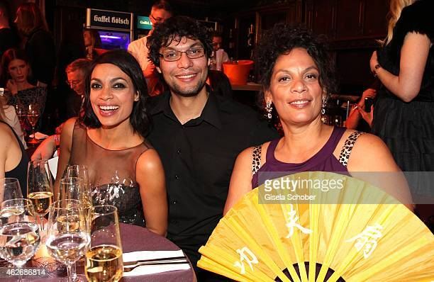 Rosario Dawson and her brother Clay and her mother Isabel Celeste during the Lambertz Monday Night 2015 at Alter Wartesaal on February 2 2015 in...