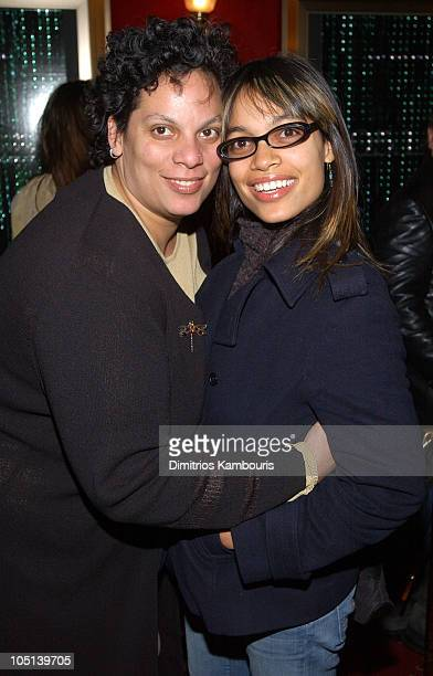 Rosario Dawson and her mother during Matrix Reloaded New York Premiere Inside Arrivals at Ziegfeld Theater in New York City New York United States
