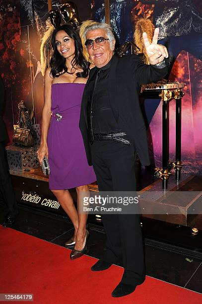 Rosario Dawson and Roberto Cavalli attend the opening of the Roberto Cavalli London store on September 17 2011 in London England