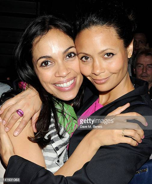 Rosario Dawson and Thandie Newton attend an after party for 'A Memory A Monologue A Rant And A Prayer' a onenight only performance produced by Lauren...
