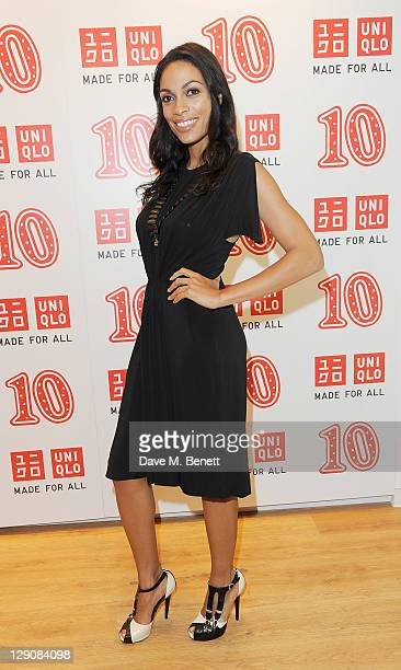 Rosario Dawson arrives at the reopening of the UNIQLO London Flagship store on Regent Street on October 12 2011 in London England
