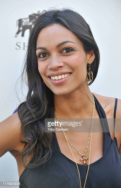 Rosario Dawson arrives for the Goodbye cellulite hello bikini poolside party held at The NIVEA and Shay Todd Summer Chateau on June 18 2011 in Bel...