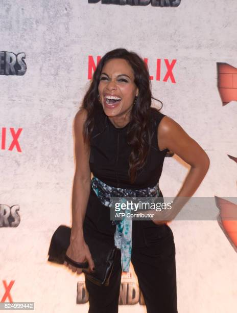 Rosario Dawson arrives for the Netflix premiere of Marvel's 'The Defenders' on July 31 2017 in New York / AFP PHOTO