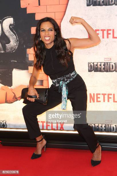 Rosario Dawson arrives to 'Marvel's The Defenders' New York Premiere at Tribeca Performing Arts Center on July 31 2017 in New York City