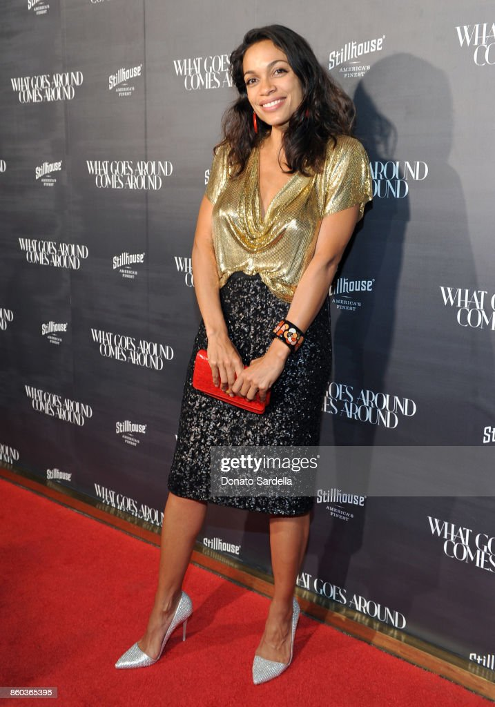 Rosario Dawson at What Goes Around Comes Around Beverly Hills Anniversary on October 11, 2017 in Beverly Hills, California.