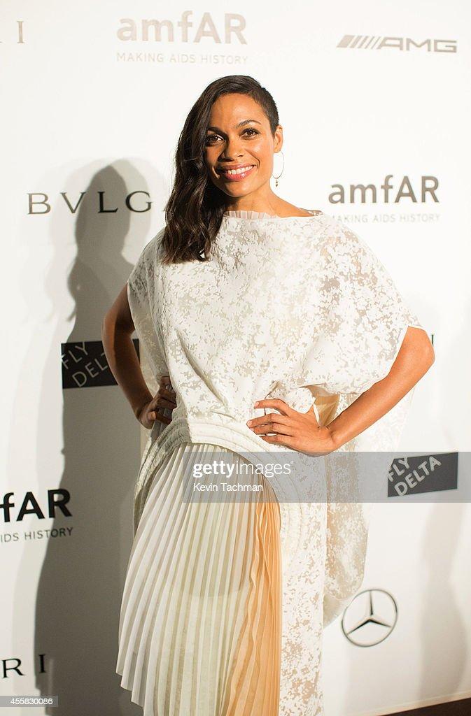 Rosario Dawson attends amfAR Milano 2014 event during Milan Fashion Week Womenswear Spring/Summer 2015 on September 20, 2014 in Milan, Italy.
