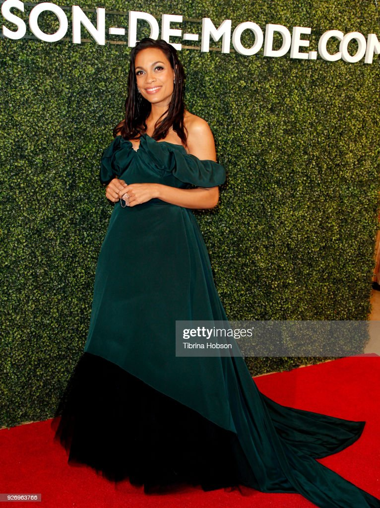 Rosario Dawson attends MAISON-DE-MODE celebration of sustainable style by honoring Suzy Amis Cameron of Red Carpet Green Dress at Sunset Tower on March 3, 2018 in Los Angeles, California.