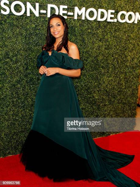 Rosario Dawson attends MAISONDEMODE celebration of sustainable style by honoring Suzy Amis Cameron of Red Carpet Green Dress at Sunset Tower on March...
