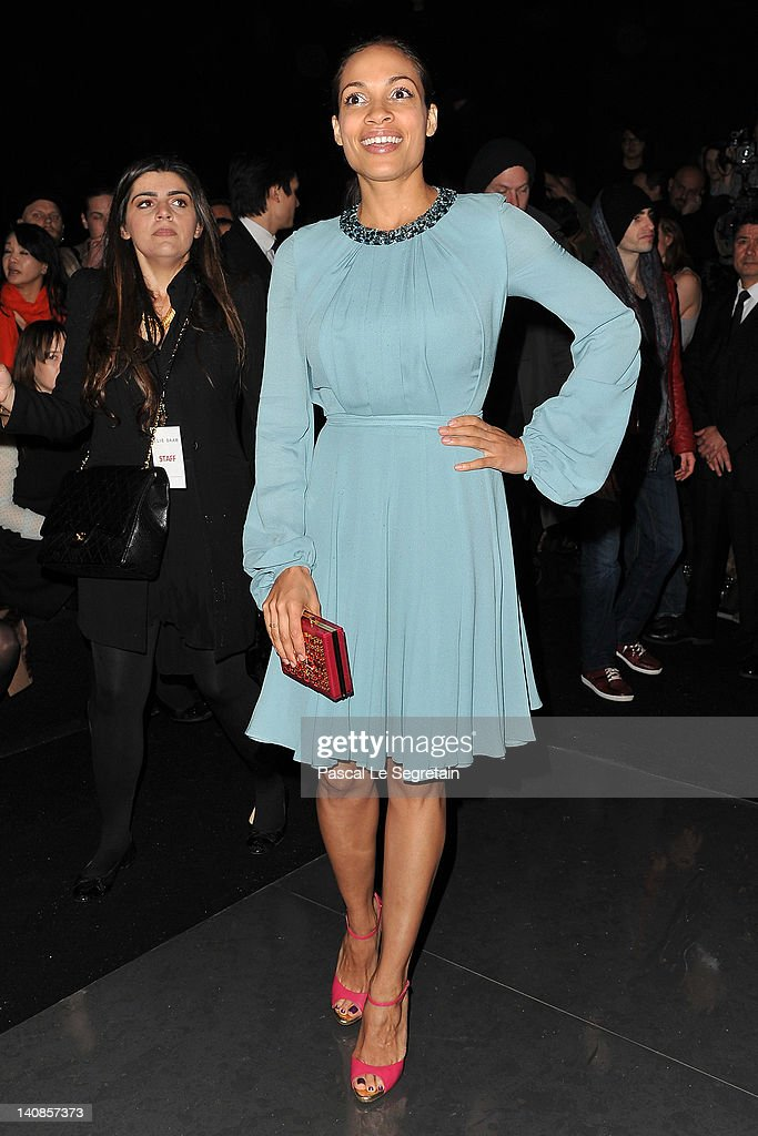 Rosario Dawson attends the Elie Saab Ready-To-Wear Fall/Winter 2012 show as part of Paris Fashion Week at Espace Ephemere Tuileries on March 7, 2012 in Paris, France.