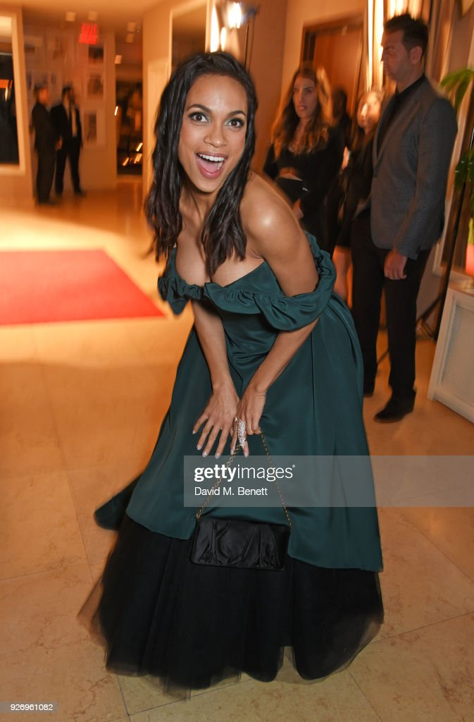 Rosario Dawson attends the first annual gala hosted by MAISON-DE-MODE.COM and Perrier Jouet to celebrate Sustainable Style by honoring Suzy Amis Cameron, founder of Red Carpet Green Dress, at Sunset Tower on March 3, 2018 in Los Angeles, California.